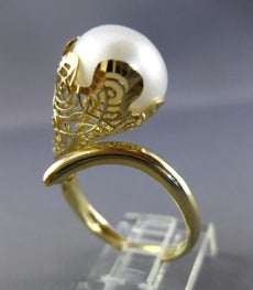 ESTATE LARGE AAA SOUTH SEA PEARL 14KT YELLOW GOLD 3D OPEN FILIGREE FLOWER RING