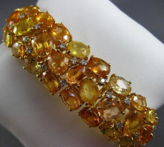ANTIQUE LARGE 88.26CT DIAMOND & AAA YELLOW SAPPHIRE 18K GOLD GRADUATING BRACELET