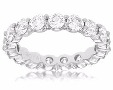 3.25CT DIAMOND 14KT WHITE GOLD 3D SHARE PRONG ETERNITY CLASSIC ANNIVERSARY RING