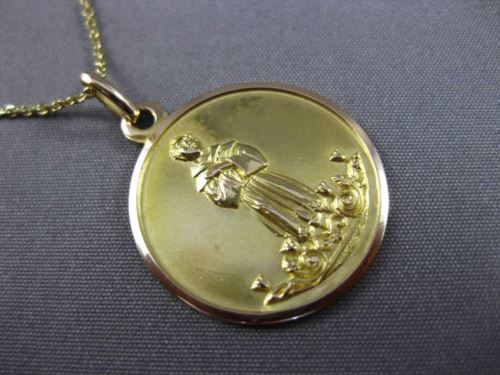 ANTIQUE 18K YELLOW GOLD 3D BEATO GIACOMO ILLIRICO DA BITETTO PENDANT CHAIN 24038