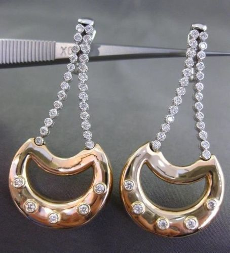 ESTATE 1.20CT DIAMOND 14KT WHITE & YELLOW GOLD 3D ETOILE MOON HANGING EARRINGS
