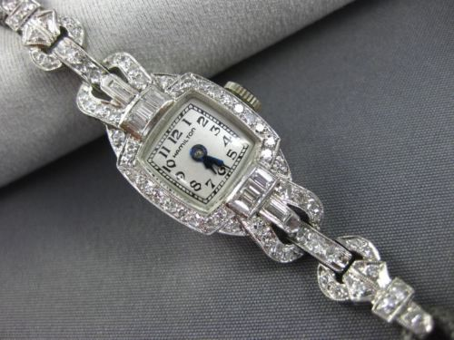 ANTIQUE 1.60CT ROUND & BAGUETTE DIAMOND PLATINUM 3D HAMILTON WRIST WATCH #25818