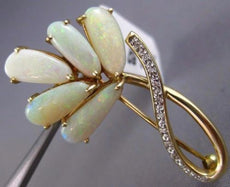 ESTATE LARGE .06CT DIAMOND & AAA OPAL 14KT YELLOW GOLD 3D FLOWER LEAF BROOCH PIN