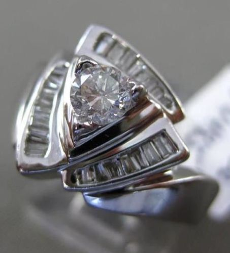 ESTATE WIDE .63CT DIAMOND 14K WHITE GOLD 3D TRIANGULAR ENGAGEMENT RING 13mm WIDE