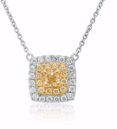 ESTATE .58CT WHITE & FANCY YELLOW DIAMOND 18KT TWO TONE GOLD 3D SQUARE NECKLACE