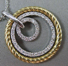 ESTATE .50CT DIAMOND 14KT TWO TONE GOLD MULTI TRI CIRCLE ROPE FLOATING NECKLACE