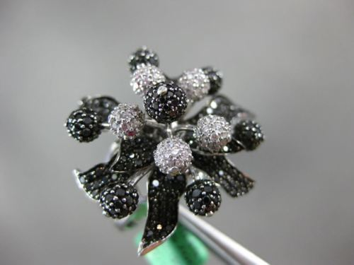 EXTRA LARGE 1.13CT WHITE & BLACK DIAMOND 18KT WHITE GOLD FLOWER MICRO PAVE RING