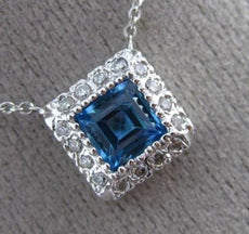 ESTATE 1.0CT ROUND DIAMOND & BLUE TOPAZ 14KT WHITE GOLD 3D HALO CLASSIC NECKLACE