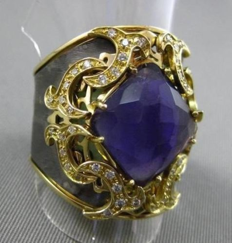 ANTIQUE 5.40CT DIAMOND & AMETHYST 18KT BLACK & YELLOW GOLD 3D FILIGREE FUN RING