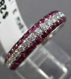 ESTATE .98CT DIAMOND & AAA RUBY 18KT WHITE GOLD SEMI ETERNITY 3 ROW WEDDING RING