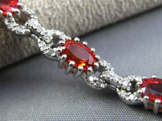 ESTATE LONG 7.10CT DIAMOND & ORANGE SAPPHIRE 14K WHITE GOLD LOVE TENNIS BRACELET