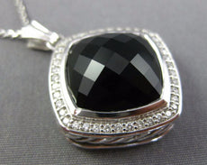 ESTATE LARGE DAVID YURMAN 10.30CT DIAMOND & ONYX 925 SILVER SQUARE PENDANT 26186