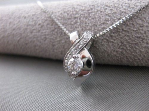 ANTIQUE .39CT ROUND DIAMOND 18K WHITE GOLD TWIST INFINITY PENDANT & CHAIN #11415