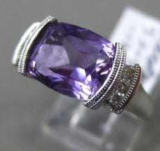 ESTATE WIDE 3.32CT DIAMOND & AAA AMETHYST 14KT WHITE GOLD LUCIDA ENGAGEMENT RING