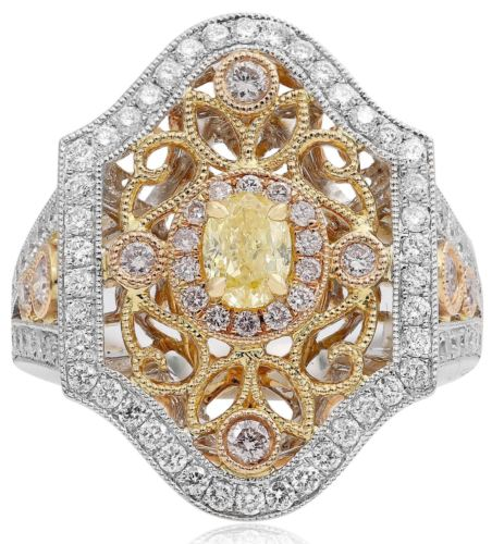ESTATE LARGE 1.17CT WHITE PINK & FANCY YELLOW DIAMOND 18K TRI COLOR GOLD 3D RING
