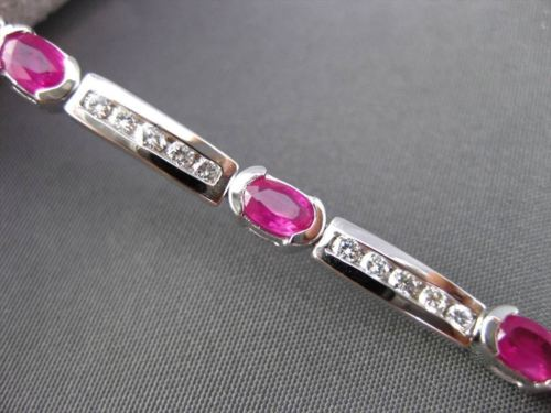 ANTIQUE 4.54CTW DIAMOND & AAA OVAL RUBY 14KT WHITE GOLD CHANNEL BRACELET #19757