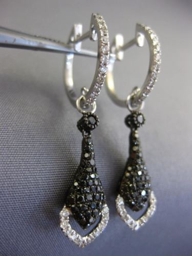 1.36CT WHITE & BLACK DIAMOND 14KT WHITE & BLACK GOLD 3D HEART TEAR DROP EARRINGS
