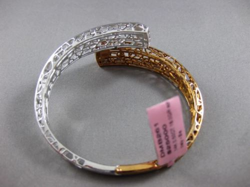 ESTATE WIDE .50CT DIAMOND 14K WHITE & ROSE GOLD 3D OPEN FLEXIBLE BANGLE BRACELET