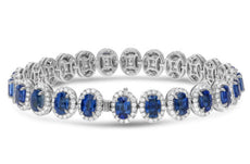 ESTATE 18.87CT DIAMOND & AAA SAPPHIRE 18KT WHITE GOLD 3D HALO TENNIS BRACELET