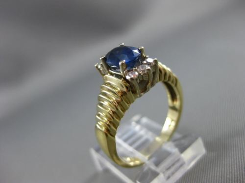 ESTATE 1.44CT DIAMOND & AAA OVAL SAPPHIRE 14KT 2TONE GOLD ENGAGEMENT RING #22056