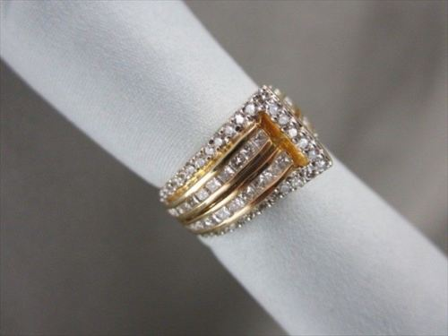 ANTIQUE 14K GOLD WIDE TWO TONE DIAMOND 1.45CT BELT RING