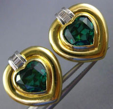 LARGE 7.50CT DIAMOND & SYNTHETIC EMERALD 18KT 2 TONE GOLD HEART CLIP ON EARRINGS
