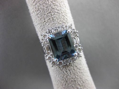 ANTIQUE 4.70CT DIAMOND & AAA AQUAMARINE 18K WHITE GOLD 3D ENGAGEMENT RING F/G VS