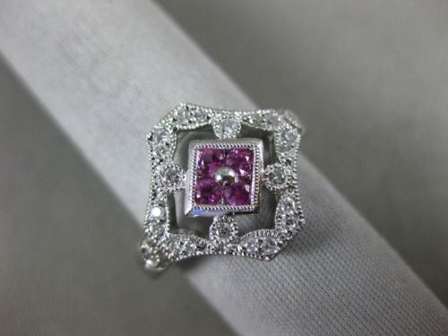 WIDE .51CT DIAMOND & AAA PINK SAPPHIRE 14K WHITE GOLD OPEN FILIGREE HEXAGON RING