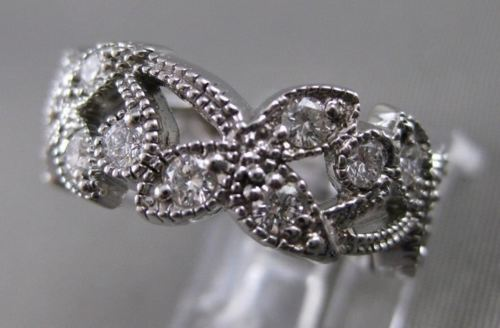 ANTIQUE 1.10CT DIAMOND 14K WHITE GOLD FILIGREE ETERNITY WEDDING RING E VVS 18531