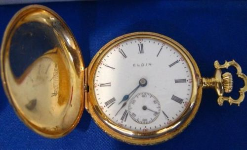 ANTIQUE 14K YELLOW GOLD ELGIN HUNTERS POCKETWATCH PERFECT CONDITION #19489
