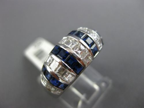 WIDE 2.52CT DIAMOND & AAA SAPPHIRE 18K WHITE GOLD 3D MULIT ROW ANNIVERSARY RING