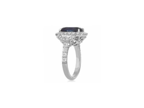 LARGE GIA CERTIFIED 6.56CT DIAMOND & AAA SAPPHIRE 18K WHITE GOLD ENGAGEMENT RING