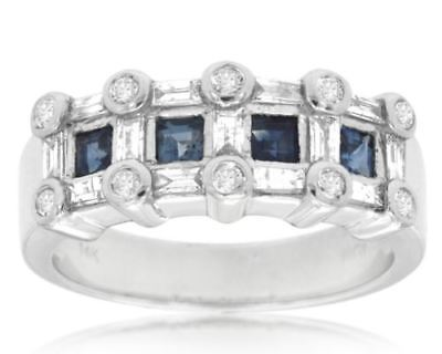 ESTATE 1.10CT DIAMOND & AAA SAPPHIRE 14KT WHITE GOLD 3D WEDDING ANNIVERSARY RING