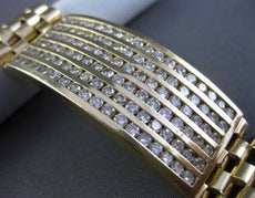 ESTATE LARGE & WIDE 5.0CT ROUND DIAMOND 14KT YELLOW GOLD MULTI ROW MENS BRACELET