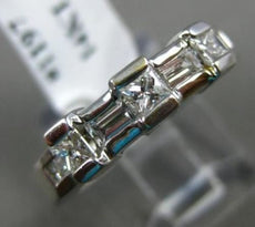 ESTATE .75CT PRINCESS & BAGUETTE DIAMOND 14KT WHITE GOLD ANNIVERSARY RING #1197