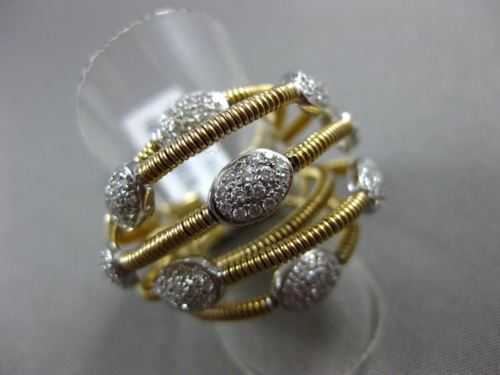 ESTATE LARGE .78CT DIAMOND 18KT 2 TONE GOLD 3D PAVE OVAL CRISS CROSS SNAKE RING