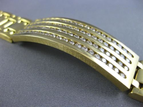 LARGE & LONG 4.0CT DIAMOND 14KT YELLOW GOLD 3D MULTI ROW ITALIAN MENS BRACELET