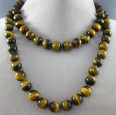 ESTATE LONG CLASSIC 3D 10mm TIGER EYE STRIDE BEADED FUN NECKLACE #25891