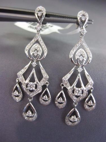 LONG .83CT DIAMOND 18K WHITE GOLD 3D OPEN FILIGREE TEAR DROP CHANDELIER EARRINGS