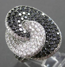 ESTATE LARGE 4.09CT BLACK & WHITE DIAMOND 18K WHITE GOLD 3D OVAL COCKTAIL RING