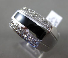 ESTATE LARGE .20CT DIAMOND & ONYX 14KT WHITE GOLD 3D RECTANGULAR MENS RING