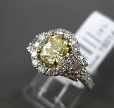 ESTATE 1.82CT FANCY YELLOW DIAMOND 18K TWO TONE GOLD 3D FILIGREE ENGAGEMENT RING
