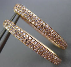 ESTATE WIDE & LONG 2.14CT PINK DIAMOND 18KT ROSE GOLD DOUBLE SIDED HOOP EARRINGS