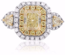 ESTATE LARGE 3.14CT WHITE & FANCY CANARY DIAMOND 18K 2 TONE GOLD ENGAGEMENT RING