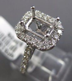 ESTATE WIDE .77CT DIAMOND 14KT WHITE GOLD 3D HALO SEMI MOUNT ENGAGEMENT RING