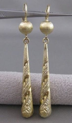 ESTATE LONG 14KT YELLOW GOLD HANGING DESIGNER FILIGREE LEVERBACK EARRINGS #20972