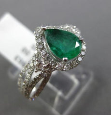 ESTATE 1.95CT DIAMOND EMERALD 14KT WHITE GOLD INFINITY HALO PEAR ENGAGEMENT RING
