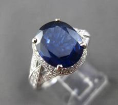 ESTATE WIDE 3.79CT DIAMOND & AGI SAPPHIRE 14K WHITE GOLD 3D HALO ENGAGEMENT RING