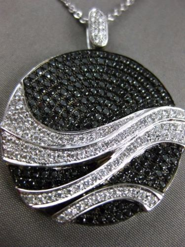 LARGE 2.21CT WHITE & BLACK DIAMOND 18KT WHITE GOLD 3D CIRCULAR WAVE FUN PENDANT