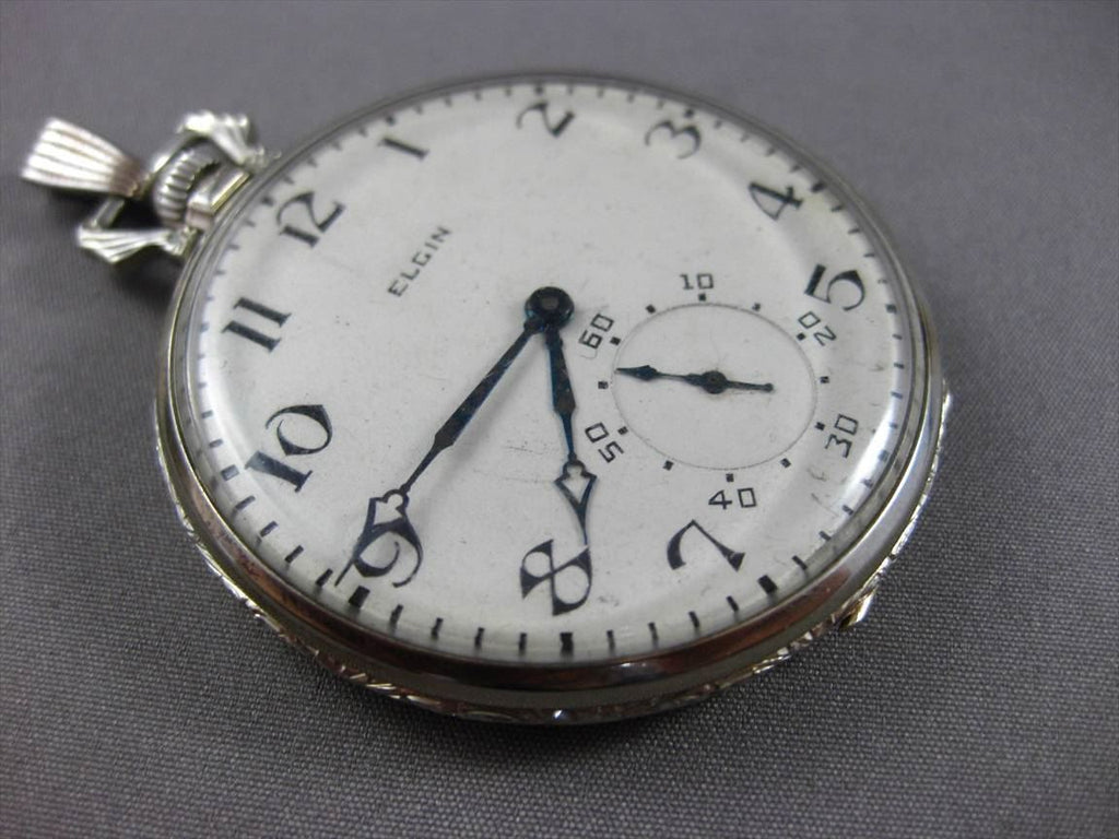 ANTIQUE ELGIN 14KT WHITE GOLD HANDCRAFTED FILIGREE POCKET WATCH EARLY 1900 23960